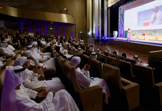 Young Emirati students from across the UAE listen to a speaker at the Mubadala Y
